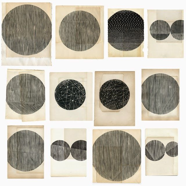 All the circles...(woodblocks on vintage paper by Kate Castelli)
