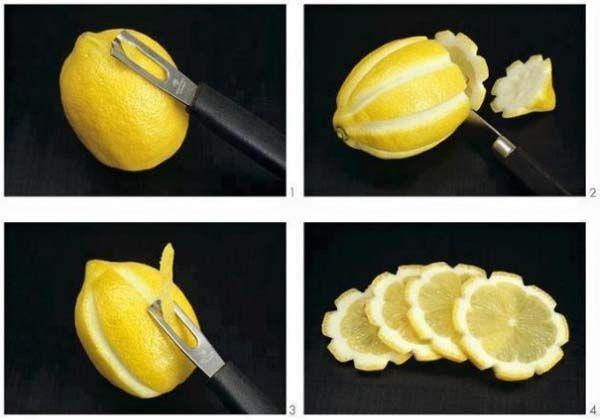 15. Сделай красивые лимонные цветы