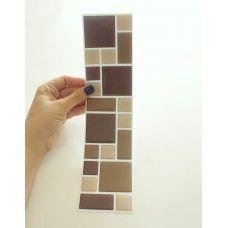 Pastilha Resinada Mosaico Marrom e Bege - Faixa 7,0cm x 29cm