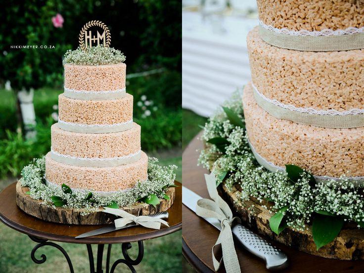 our wedding cake baked by joretha loubser all rice krispie photo credit nikki meyer. Black Bedroom Furniture Sets. Home Design Ideas