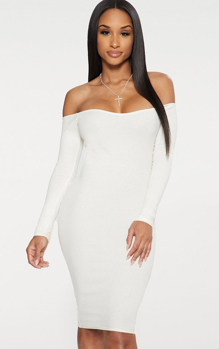 Cream Second Skin Bardot Ribbed Long Sleeve Midi Dress £15