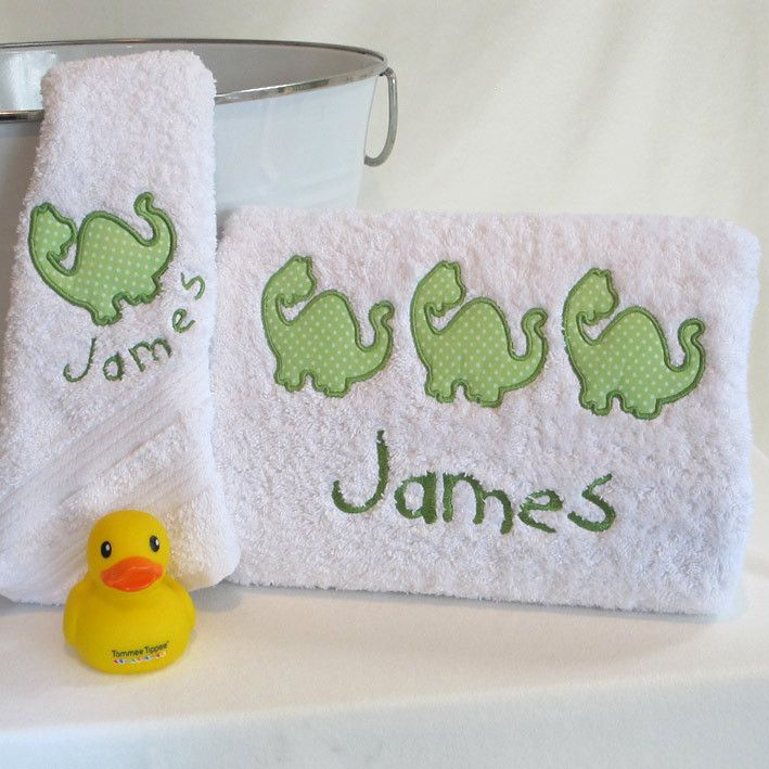 A Dinosaur Bath Towel set #baby-bath-towels #kids-birthday-gift #kids-personalised-gift #personalised-baby-gift #personalised-baby-towels #personalised-bath-towel