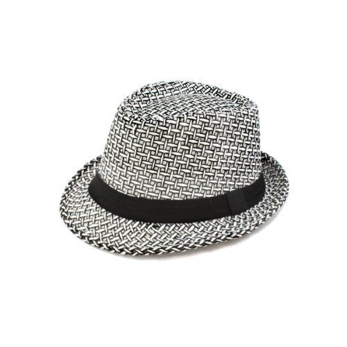 Faddism GHAT58BKWHTSTW Stylish Fedora Hat in Black White Cross Design Faddism. $16.99. dimensions 58cm. Satiny ribbon band. 35%COTTON.65%POLYESTER