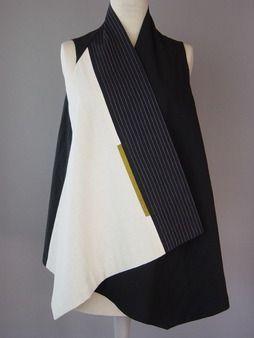 Long Round Neck handwoven Vest in Black and White Juanita Girardin