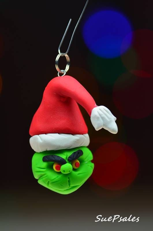 grinch, grinch ornament, christmas ornament, xmas ornament, tree ornament, polymer clay ornament, polymer clay grinch, by SuePsales on Etsy #Grinch #Grinchornament #PolymerClayGrinch #PolymerClay #PolymerClayChristmas #PolymerClayChristmasOrnament #Grinchwhostolechristmas