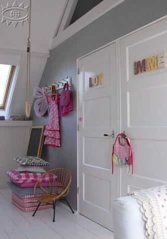 Great for girls room : sloping ceiling