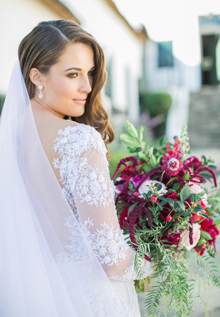 Marsala bouquet and Lace long sleeve wedding dress