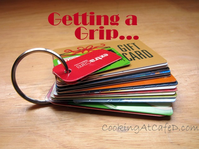 Keyring + whole puncher = all your gift & discount cards organized in your purse! Great Idea & a smaller wallet!