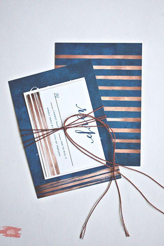 Navy & Copper Wedding Invitations with DIY Copper Cord Bind