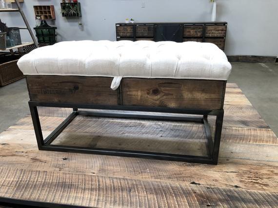Modern Farm Lift Top Tufted Ottoman Custom Made Crate Furniture Crate Furniture Tufted Ottoman Ottoman