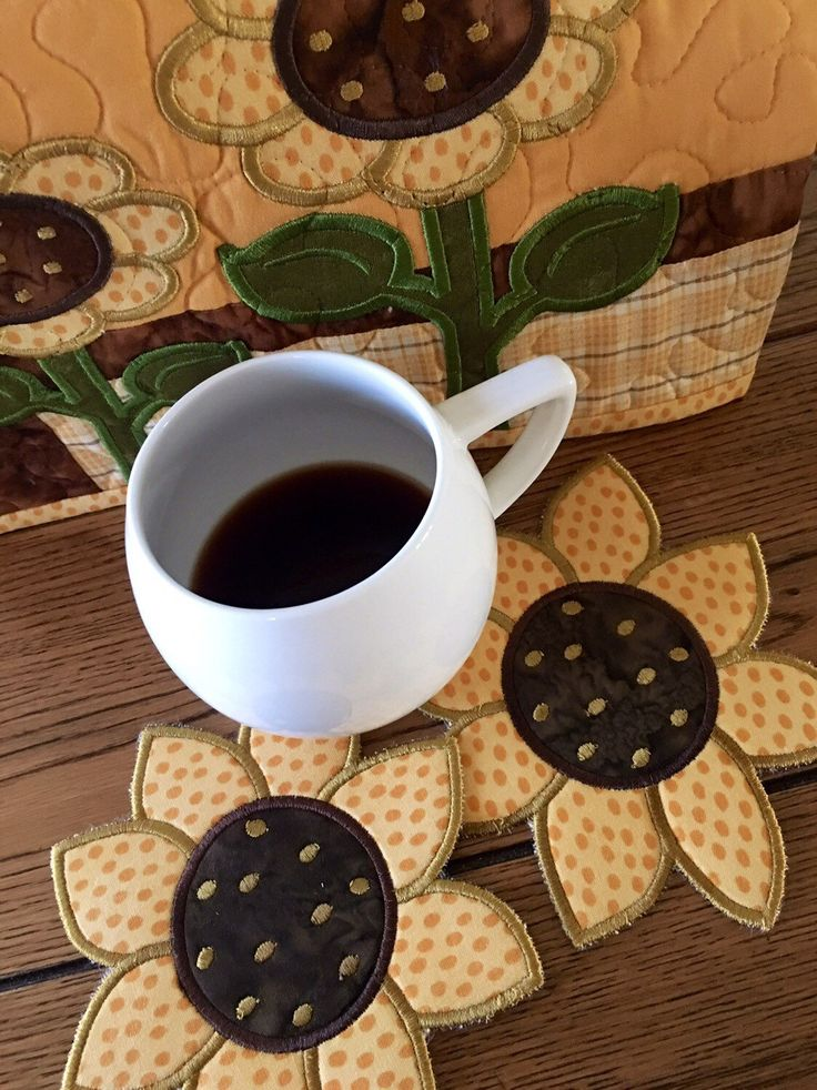 A personal favorite from my Etsy shop https://www.etsy.com/listing/473415547/sunflower-mug-rugs-late-summer-blooms