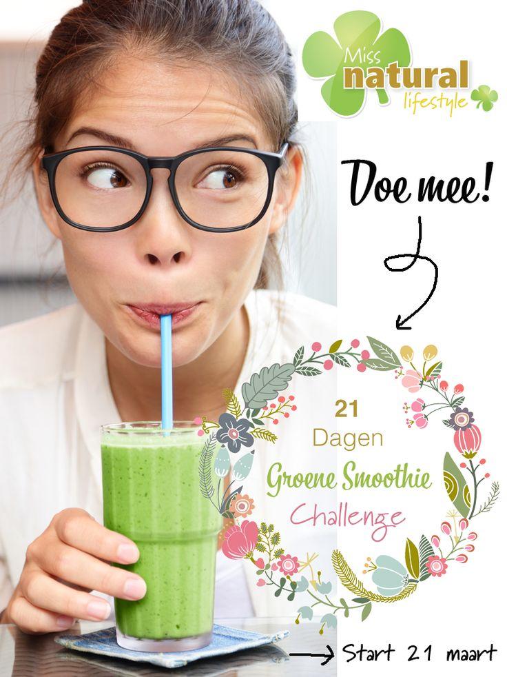 Wil jij ook weten wat groene smoothies voor jou kunnen betekenen? Begin de lente dan ook met een extra portie energie en schrijf je nu met onderstaand formulier in voor de gratis 21 dagen lang Groene Smoothie Challenge van Miss Natural! http://missnatural.nl/jouw-nieuwe-uitdaging-21-dagen-groene-smoothies/