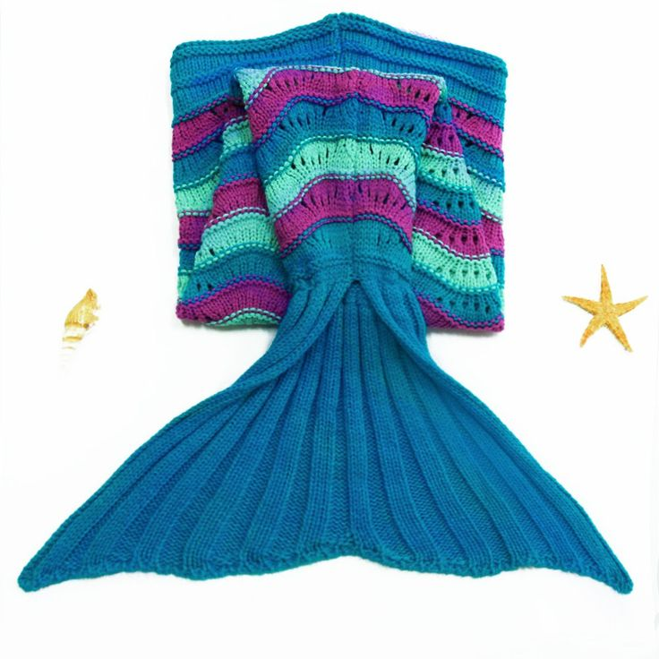 Cute Sea Wave Pattern Mermaid Shape Knitted Blanket For Children