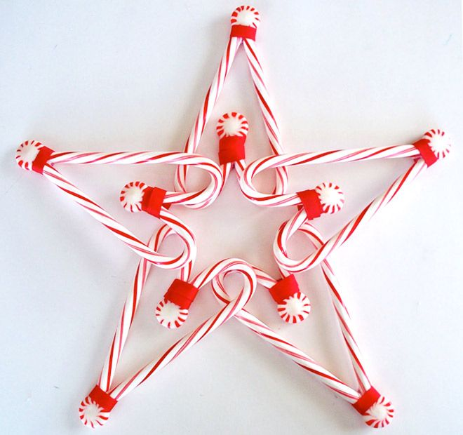 DIY candy cane star decoration & links to other candy cane crafts