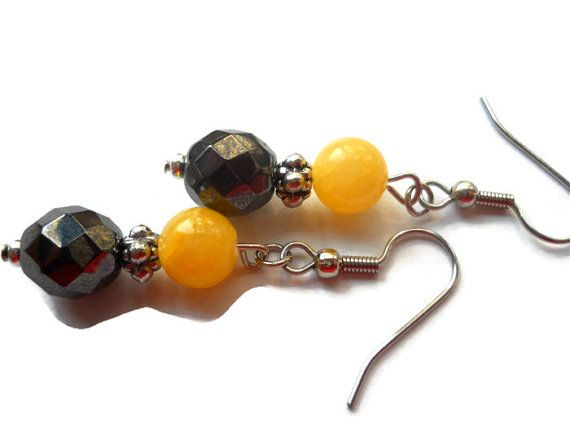 Antiqued Gray Earrings Yellow Gray Earrings by chicagolandia, $20.00