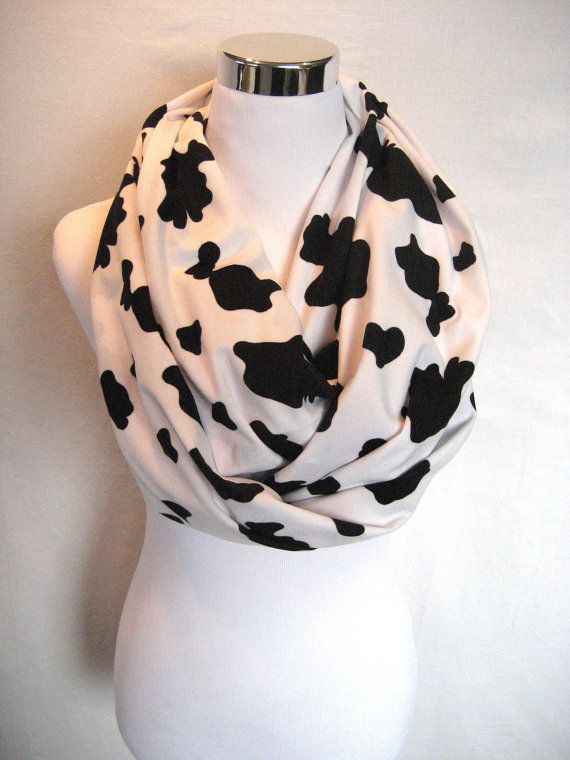LONG Cow Spots on Soft White Faux Suede Knit by ChevronScarf, $25.00