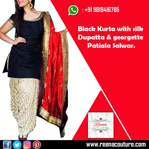 Black Kurta with pitta work in neck and sleves silk Dupatta with golden border Banarasi georgette Patiala Salwar, For more details please call or whatsapp on 9819416785 or share your number we will call you. http://www.reenacouture.com/ #gownsforcheap #designerdressesforcheap #designer #dresses #for #cheap #discounted #sale #customized #western #dress #bridal #replica #Bollywoodlook #plus-size #plus # size #xxxl #xxxxl #5xl #tailors #whole-seller #beautifulCollection #Celebrity #party…