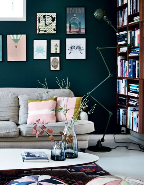 Living room with dark green wall