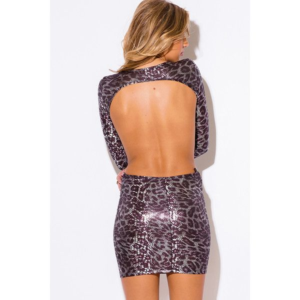 silver snake animal print metallic cut out backless long sleeve fitted... ❤ liked on Polyvore featuring dresses, sexy bodycon dresses, cocktail party dress, short party dresses, sexy short dresses and sexy birthday dresses