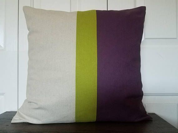Contemporary Pillow Linen Color Block Pillow Cover Decorative Throw Pillows Cushion Covers Accent Pillow Natural Linen Colorblock Pillows