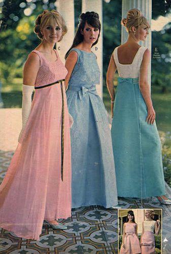 1960s formal dresses, pastel colors.