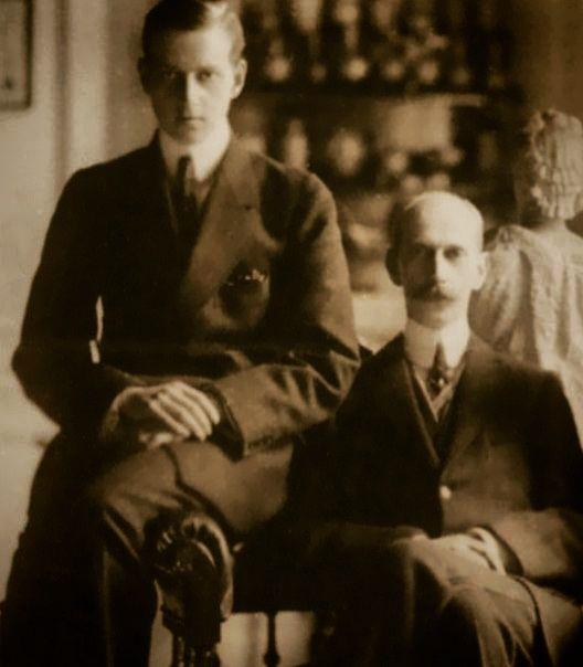 """Grand Duke Dmitri Pavlovich Romanov of Russia   and his father Grand Duke Pavel  Alexandrovich Romanov of Russia. """"AL"""""""
