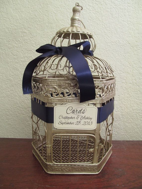 Champagne Bird Cage Wedding Card Holder / Navy Side Bow / Wedding Card Box Birdcage / Vintage Style