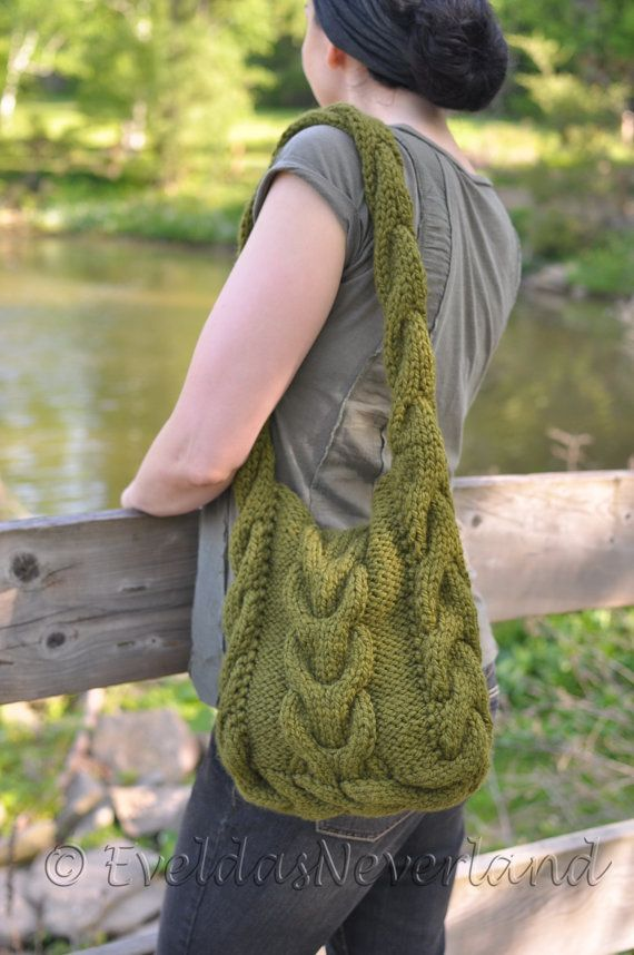 Designer cable texture hand knit shoulder bag by EveldasNeverland
