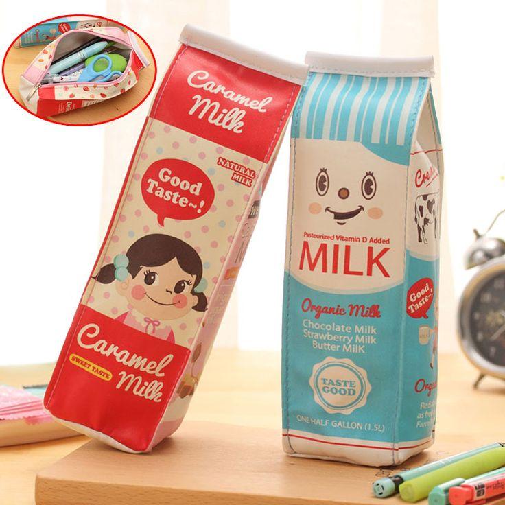 Новый Моделирование Молоко Коробки Пенал ПУ Мешок Ручки Kawaii Канцелярские Мешок Офис Школьные Принадлежности