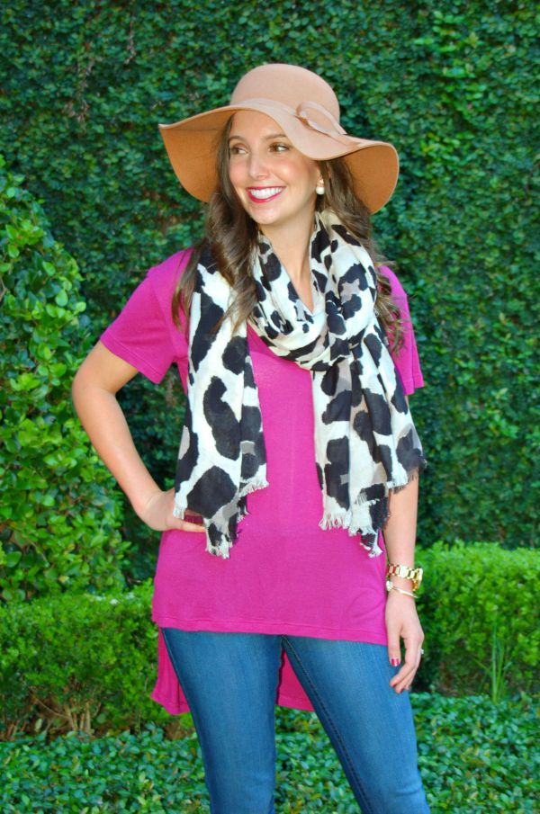 Vince Camuto Leopard Scarf and Old Navy Floppy Hat