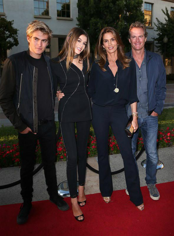 "Presley Walker Gerber, Kaia Gerber, Cindy Crawford and Rande Gerber attend the premiere of Lifetime's ""Sister Cities"" in Hollywood, California, on Aug. 31, 2016."