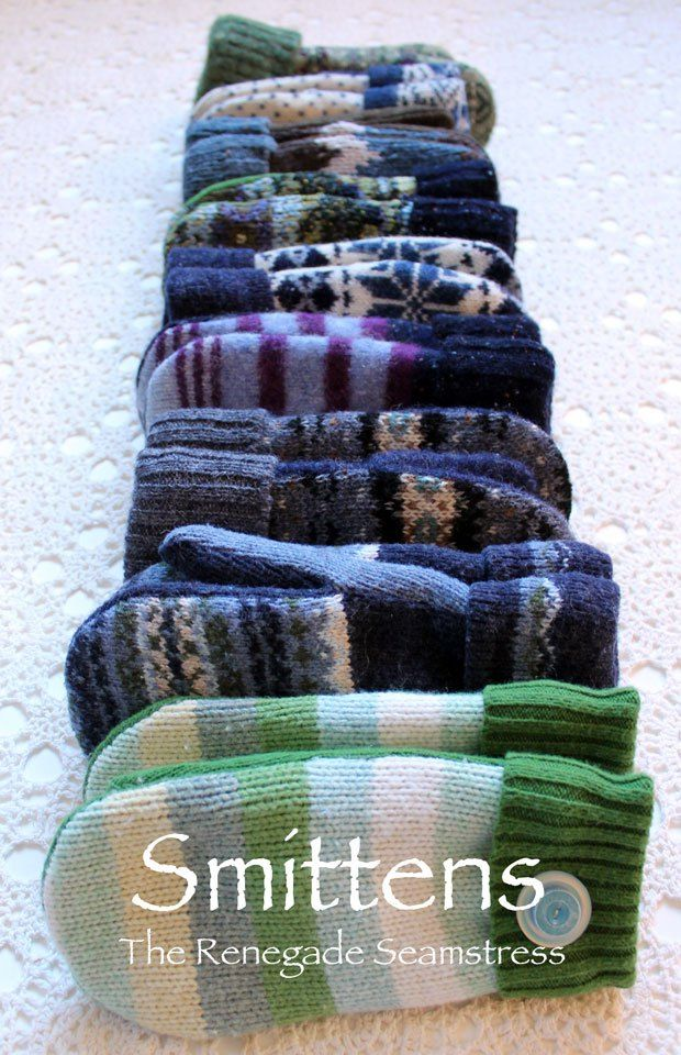 Sew mittens from sweaters.-A pattern, much better than the trace your hand kind.