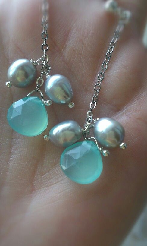 Chalcedony earrings with freshwater pearl silver 925