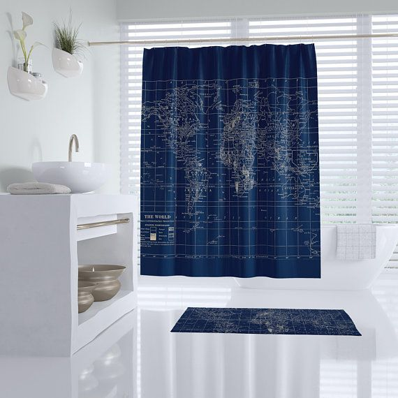 Navy Blue World Map Shower Curtain Dark Travel Decor Masculine