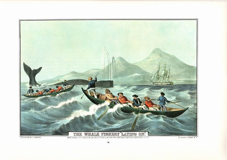 A large Currier and Ives print The Whale Fishery Laying On. The page is approx. 18 3/4 inches wide and 14 inches tall. by Blossomprintsandmore on Etsy