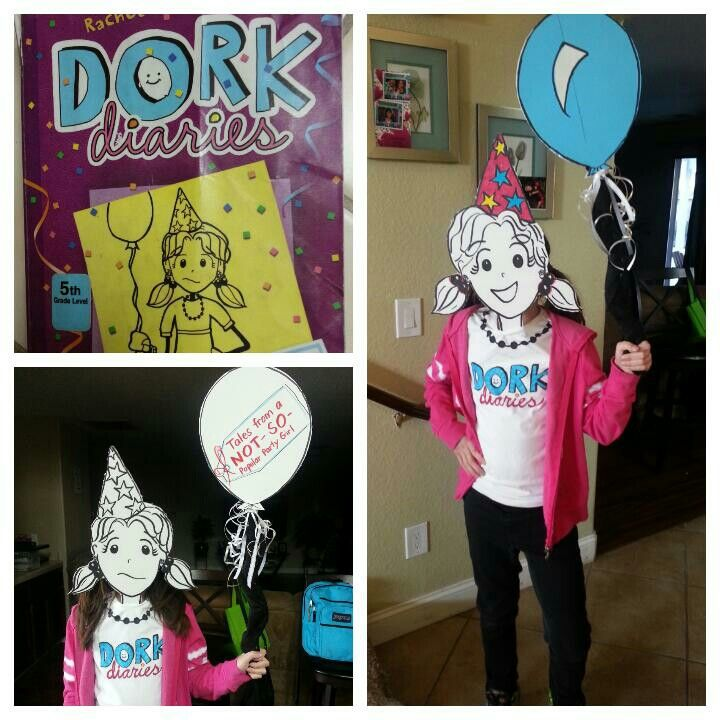 Dork diaries costume for literacy week at school .cardboard cut out and double side I drew faces and balloon.