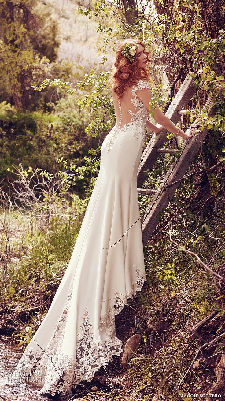 maggie sottero spring 2017 bridal cap sleeves sweetheart neckline heavily embellished bodice elegant sheath wedding dress keyhole back chapel train (odette) bv