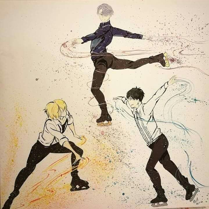 Yuri on ice painting,  viktor / Victor  Nikiforov , Yuri Katsuki ,yuri plisetsky , ice skating,  watercoloured #yoi #victuuri