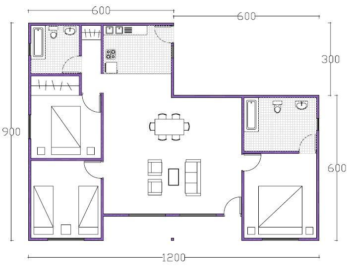 Plano De Casa De 90m2 · Duplex House PlansRoom ...