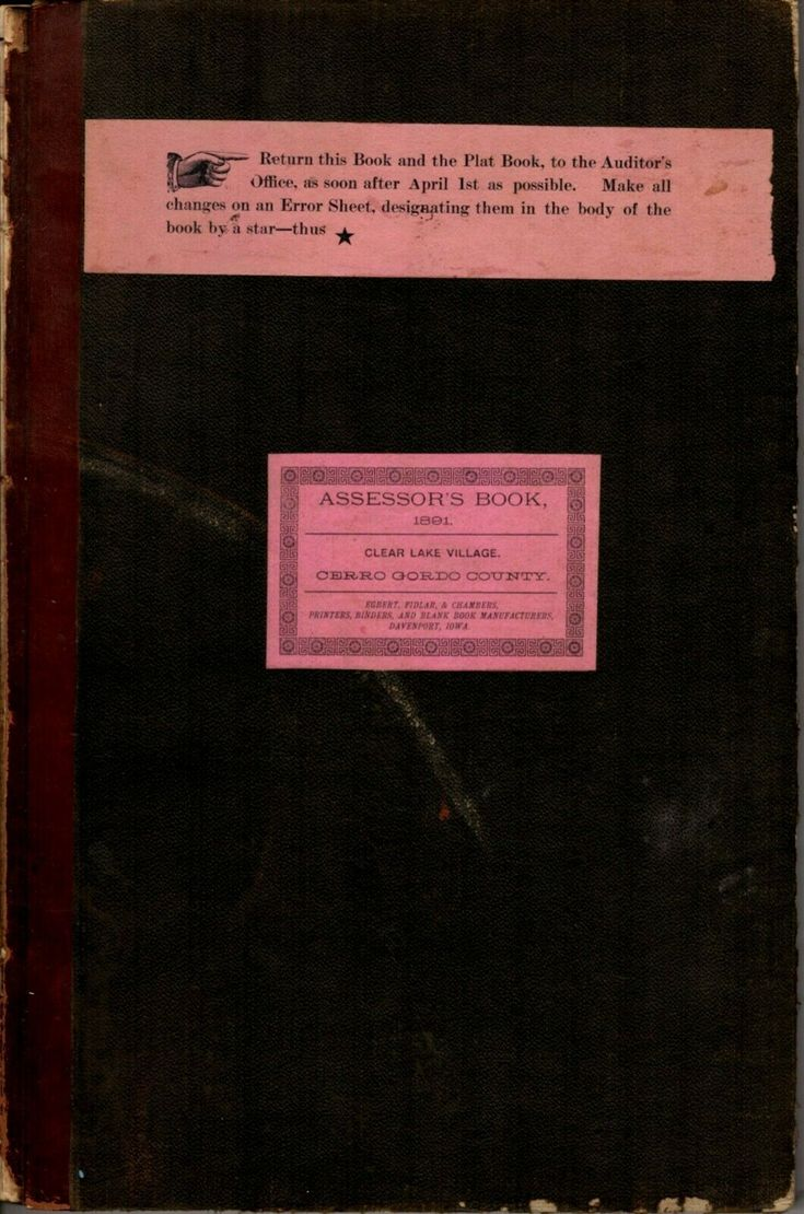 Details About 1891 Clear Lake Village Assessors Book Cerro Gordo County Ia Lake Village Cerro Gordo Clear Lake