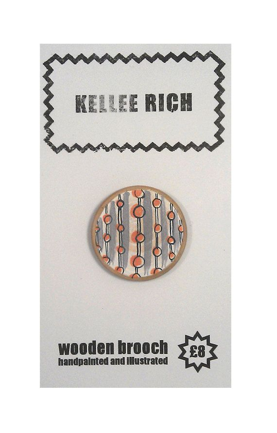 handpainted wooden brooch  pin  badge  stripes by KELLEERICH, £8.00 #brooch #handmade #handpainted #illustrated #wood #pin
