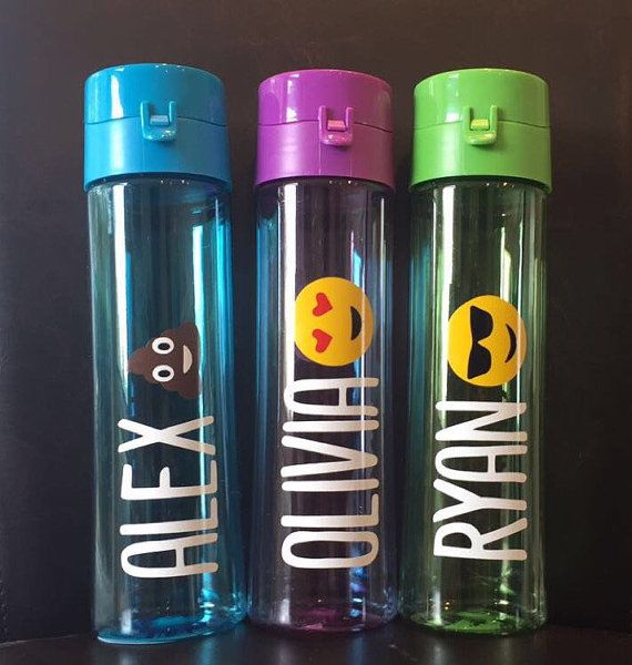 cute water bottles with emoji (message me if you want another type) . BPA free. Many different fonts and colors to choose from! Please let me know what you would like the water bottle to say in the comments. Please select color for name and color of bottle at check out! Message me for bulk order discounts.