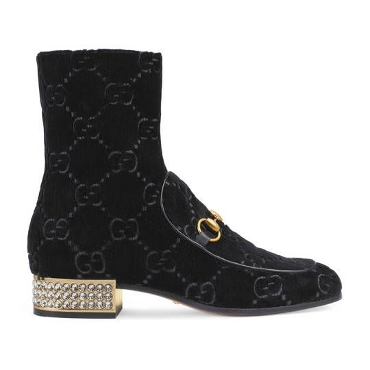 Gucci Leather Ankle Boot With Belt In 2020 Velvet Boots Boots Womens Designer Boots