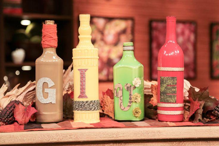 Thanksgiving centerpiece craft with wine bottles