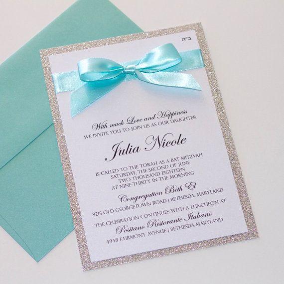 Bat Mitzvah Invitations  Glitter Invitation  by EmbellishedPaperie