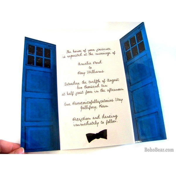 doctor who inspired tardis wedding invitations blue police box