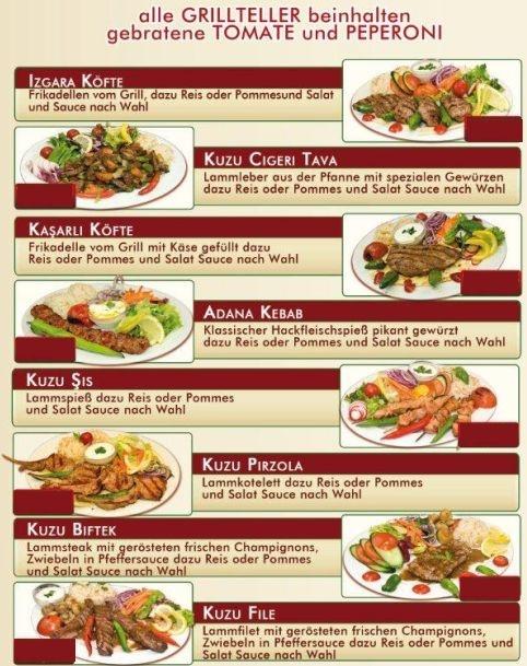 Die Grillspezialitäten vom Meram Orient Lieferservice Hamburg gehören zu den beliebtesten Gerichten auf der Speisekarte.  Probieren Sie die orintalischen Grillgerichte, wie z.B. Izgara Köfte,  Kuzu Cigeri, Kasarli Köfte, Adana Kebab, Kuzu Sis, Kuzu Pirzola, Kuzu Biftek, Kuzu File, Tavuk Sis, Hindi Cop Sis, Dana Bonfile!  Alle Speisen werden frisch für Sie zubereitet!