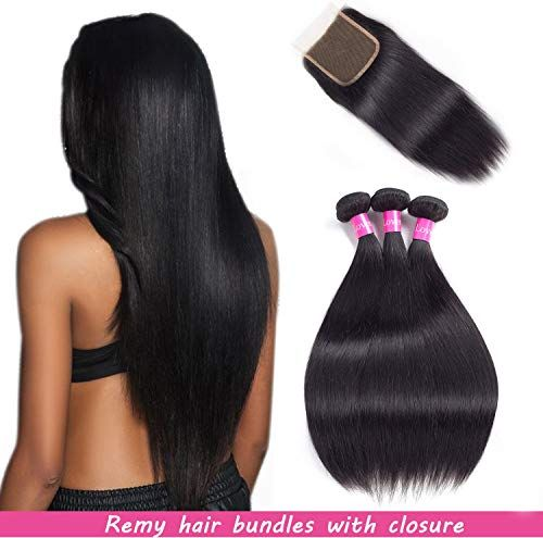 Best Seller Malaysian Hair 3 Bundles With Closure Straight Remy Hair With Closure Human Hair Extensions Natural Black Double weft Lovenea (20 22 24&18) online
