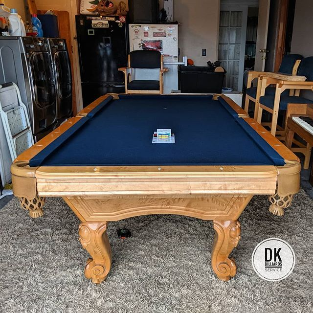 Finished installing this 8-foot ABC Newport pool table in a garage. Restretched navy blue felt. Table looks to be about 15 to 16 years old and bumpers are still in great shape. #billiards #dkbilliards #playpool #mancave #gameroom #pooltable