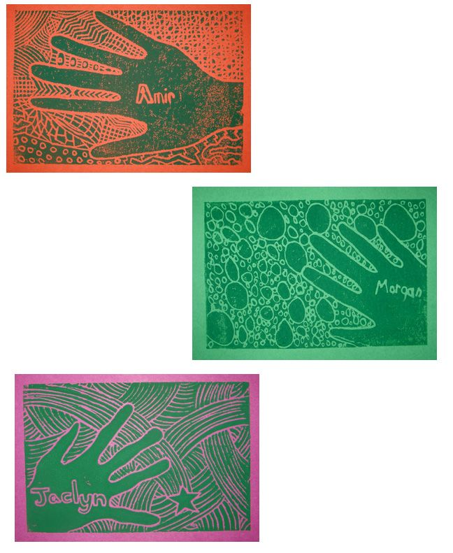 printmaking.... i would actually want to tie the hands into a hemsa cultural lesson